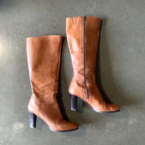 Mid season tall leather boots made in Italy